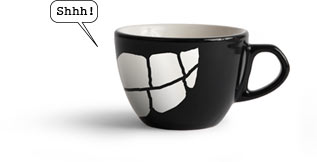 Funny Library cup saying Shh!