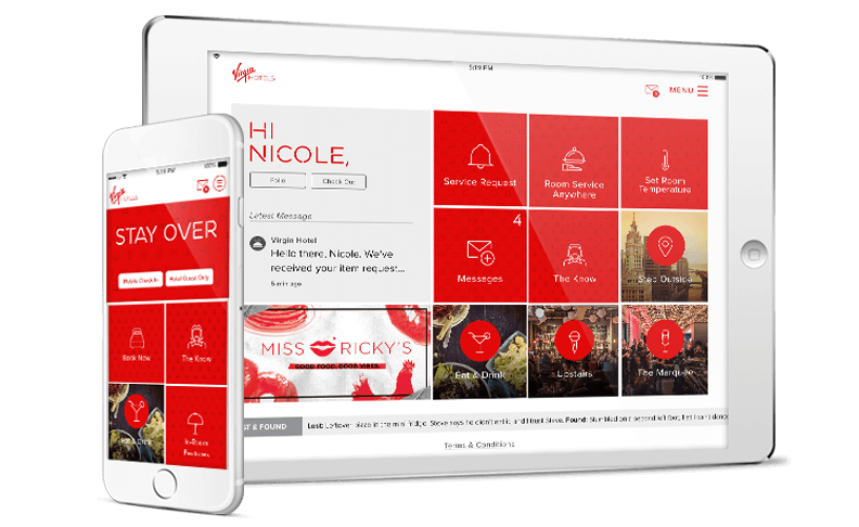 The Virgin Hotels app displayed on an iPad and iPhone.