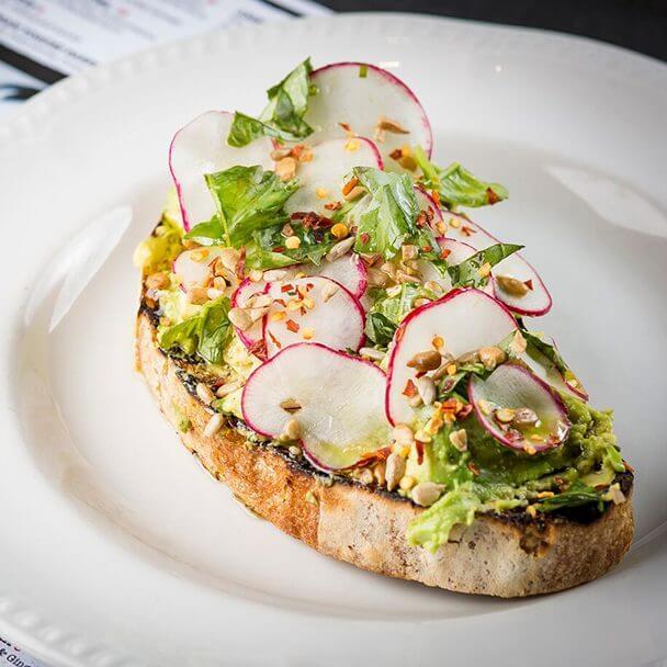 Fresh Avocado toast at Miss Rickys Diner Virgin Hotels Chicago