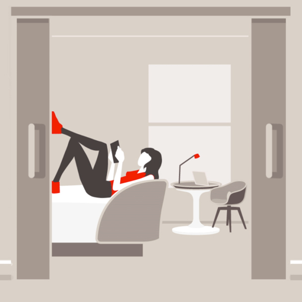preview image of an animated woman relaxing in her room
