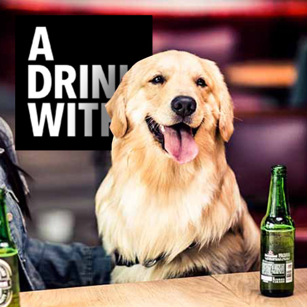 A drink with Porter the Dog